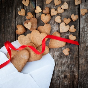 Cookies in the Shape of Heart from Letter. Love Valentine Day